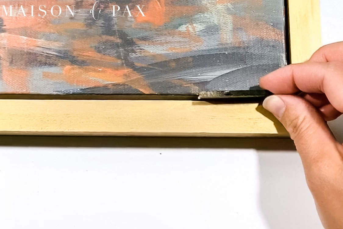 use spacer for DIY floating frame wall art   Maison de Pax