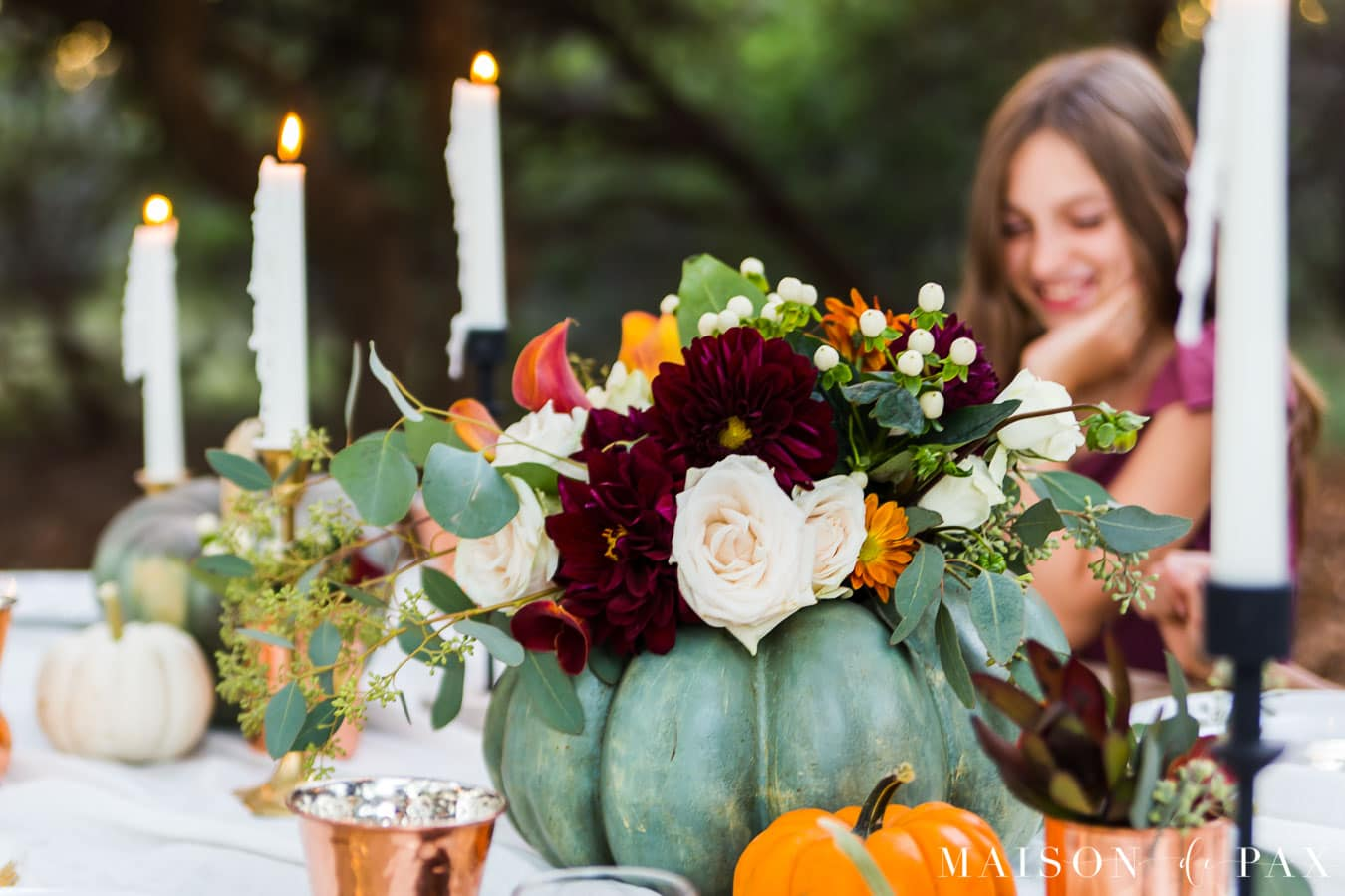 pumpkin vase with fall florals for center of Thanksgiving table | Maison de Pax