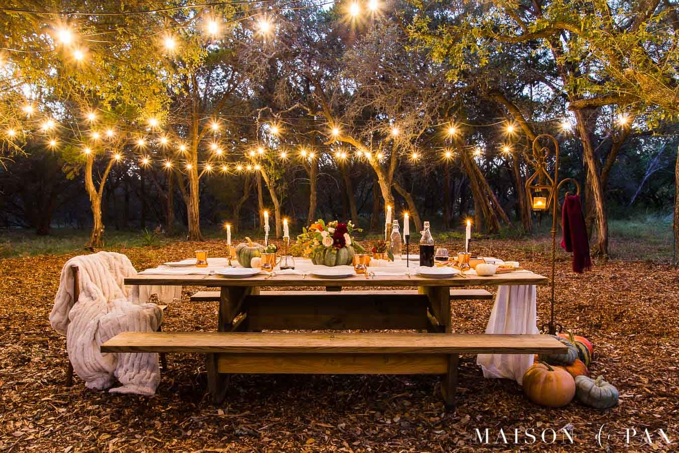 string lights over picnic table in wooded area set for Friendsgiving | Maison de Pax