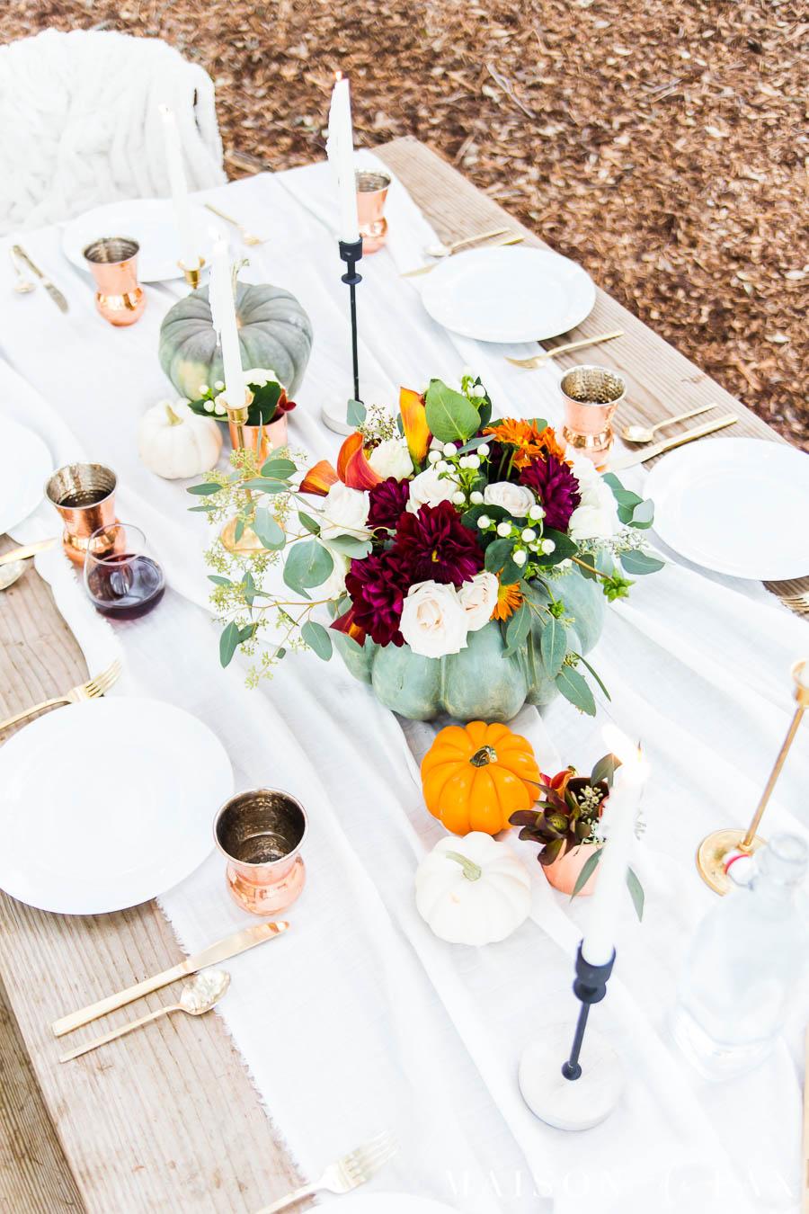 Thanksgiving tablescape with copper and pumpkins | Maison de Pax