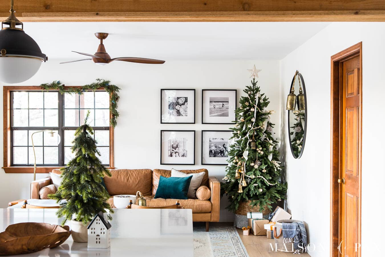 white room with wood trim and holiday decor | Maison de Pax