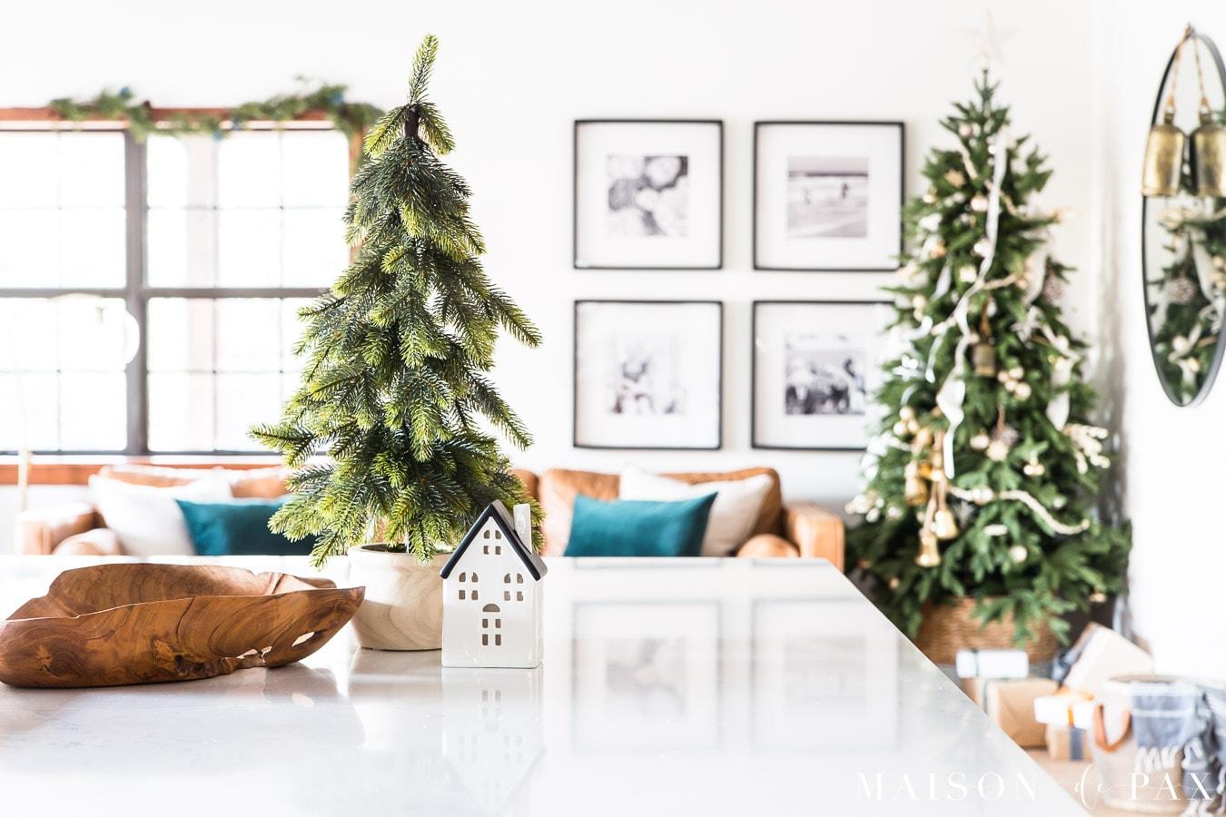 white ceramic house and mini christmas tree | maison de pax