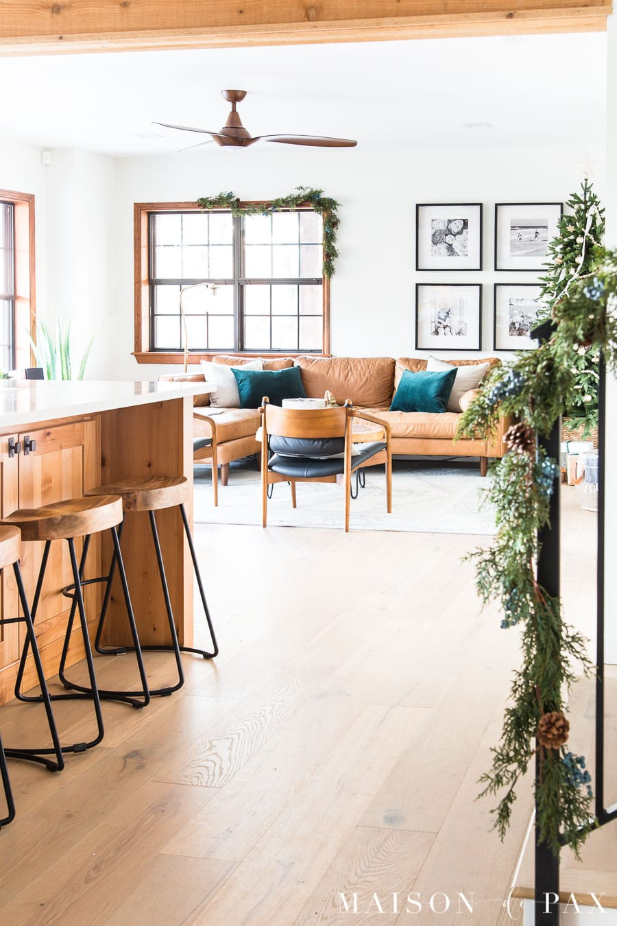 rustic modern living room decorated for Christmas | Maison de Pax