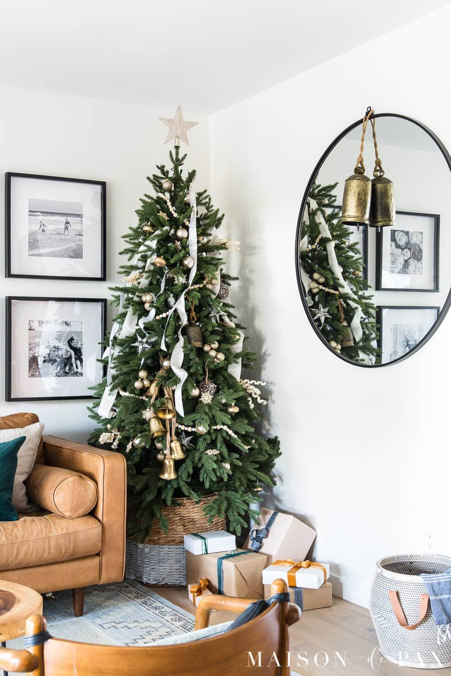 green tree with simple white and gold decorations | Maison de Pax