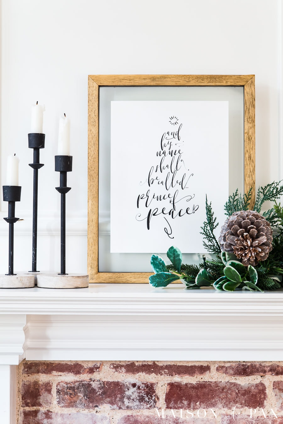 christmas art on mantel: prince of peace tree free printable | Maison de Pax