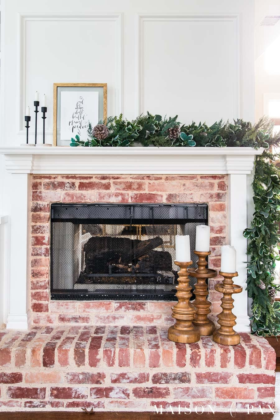 brick hearth with white mantel and christmas decorations | Maison de Pax