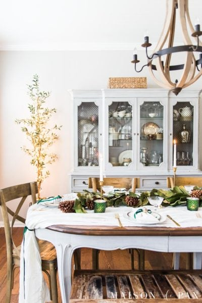 french country dining table decorated for christmas