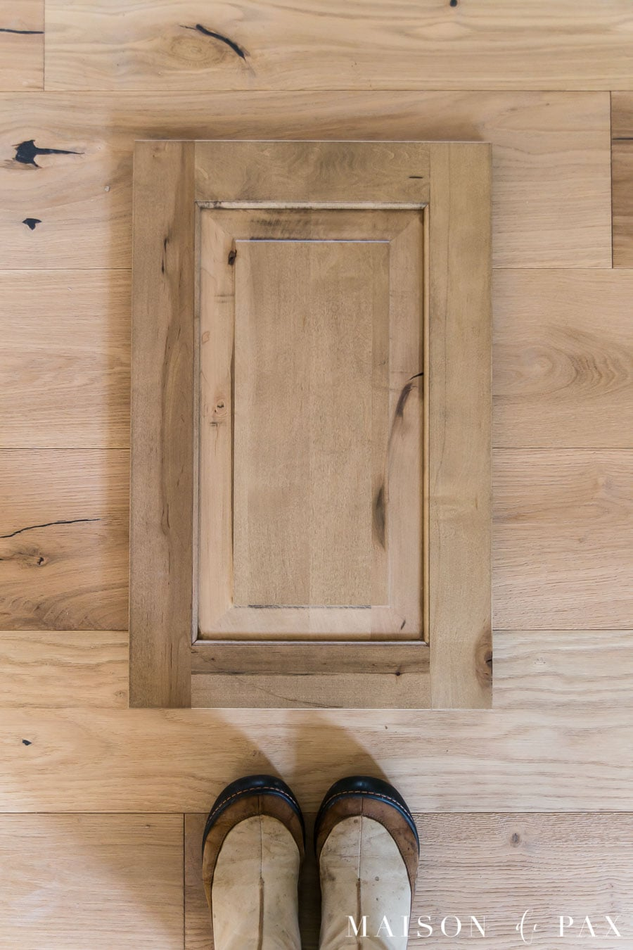 rustic maple cabinet door with white oak flooring | Maison de Pax