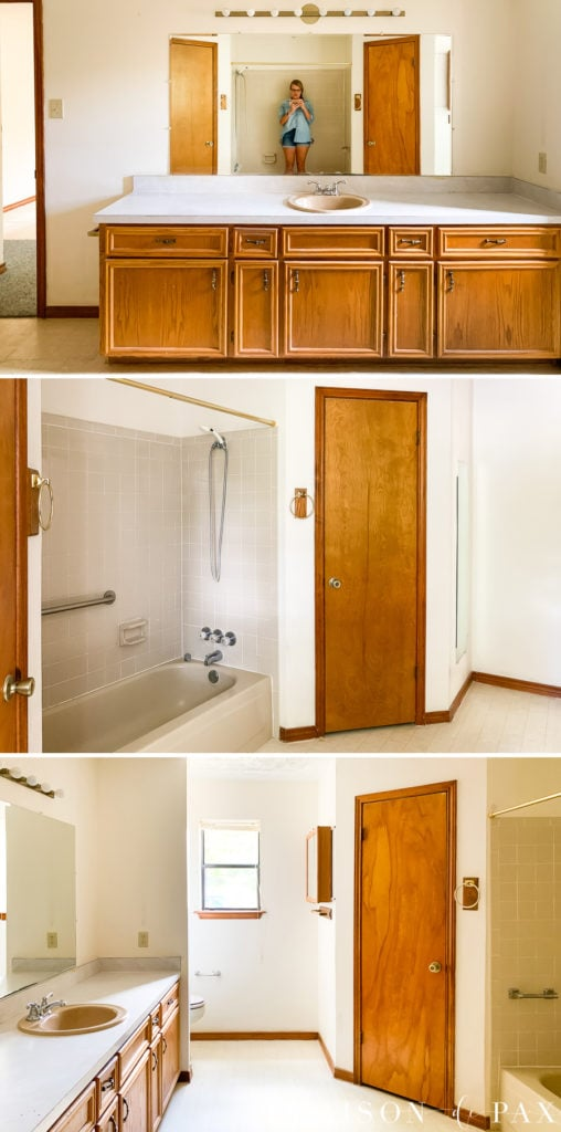 80s bathroom before with orange oak cabinets