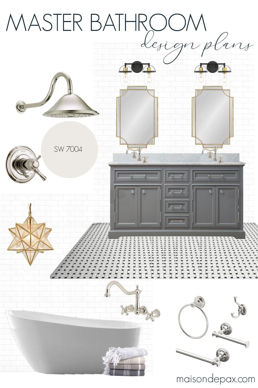classic master bathroom design plans | Maison de Pax