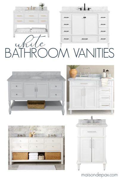 white bathroom vanities for bathroom remodel | Maison de Pax