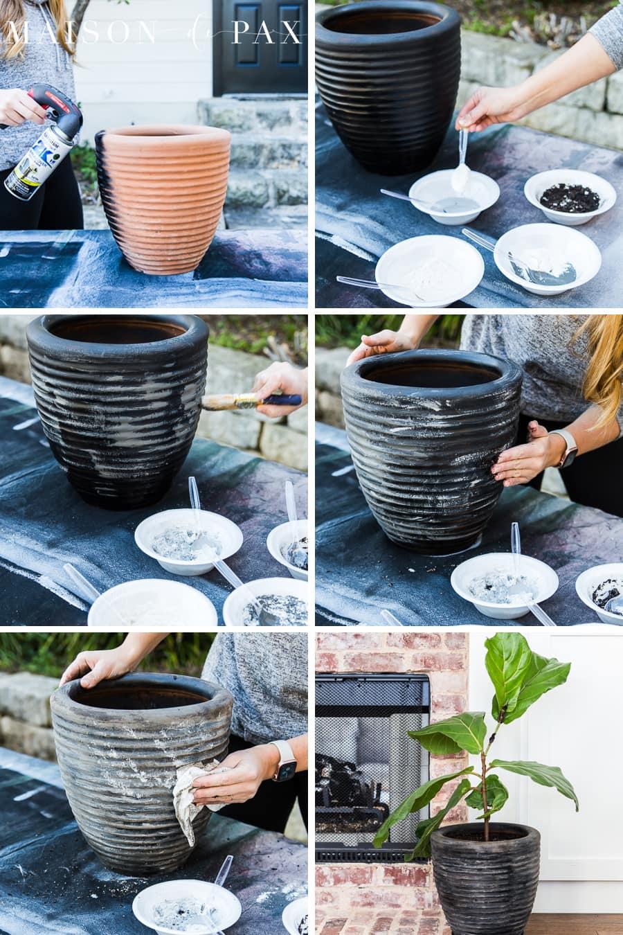 how to create a DIY aged terra cotta pot | Maison de Pax