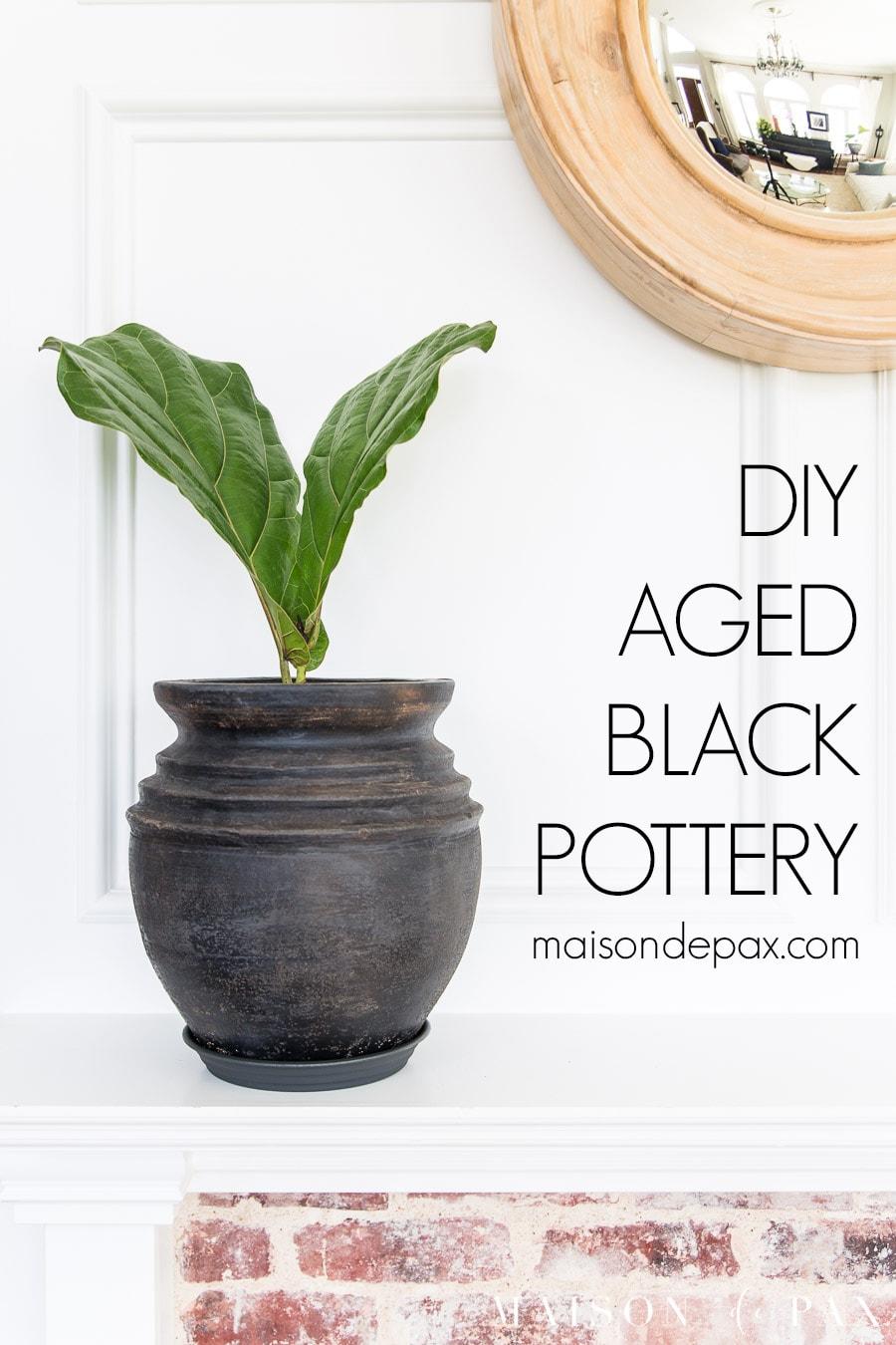 aged black pot on white mantel | Maison de Pax
