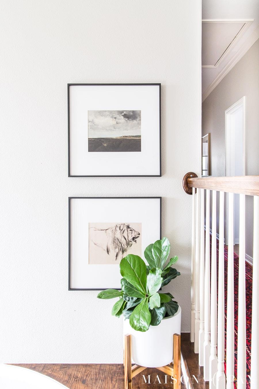 simple black frames with large white mattes and printable vintage art | Maison de Pax