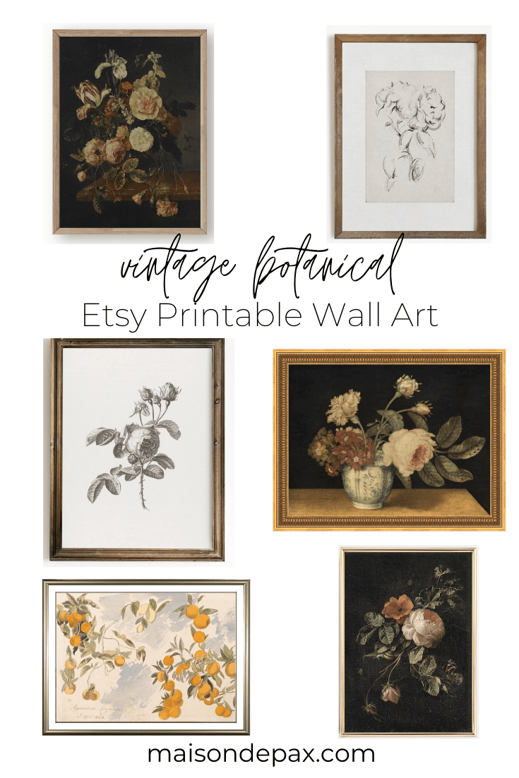 vintage botanical etsy printable wall art | maison de pax