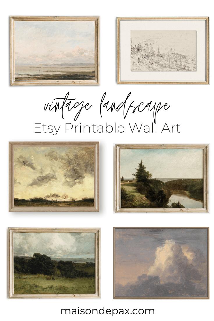 vintage landscape etsy printable wall art | Maison de Pax