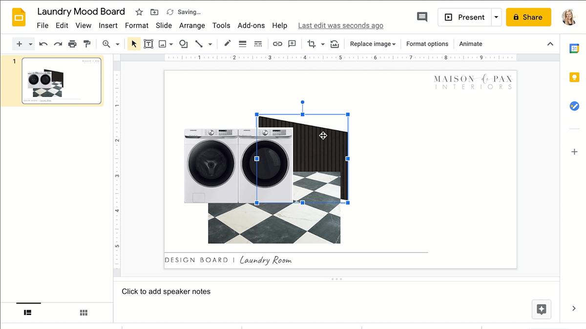 arrange images in google slides for design board | Maison de Pax
