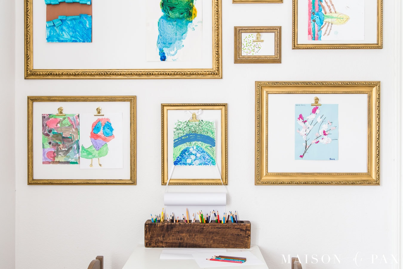 gallery wall with clips for kids' art | Maison de Pax