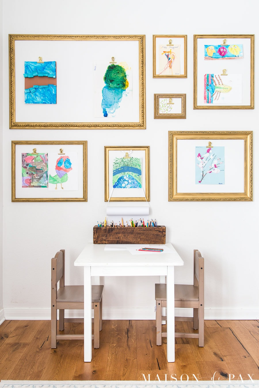 kids craft table and art gallery wall | Maison de Pax