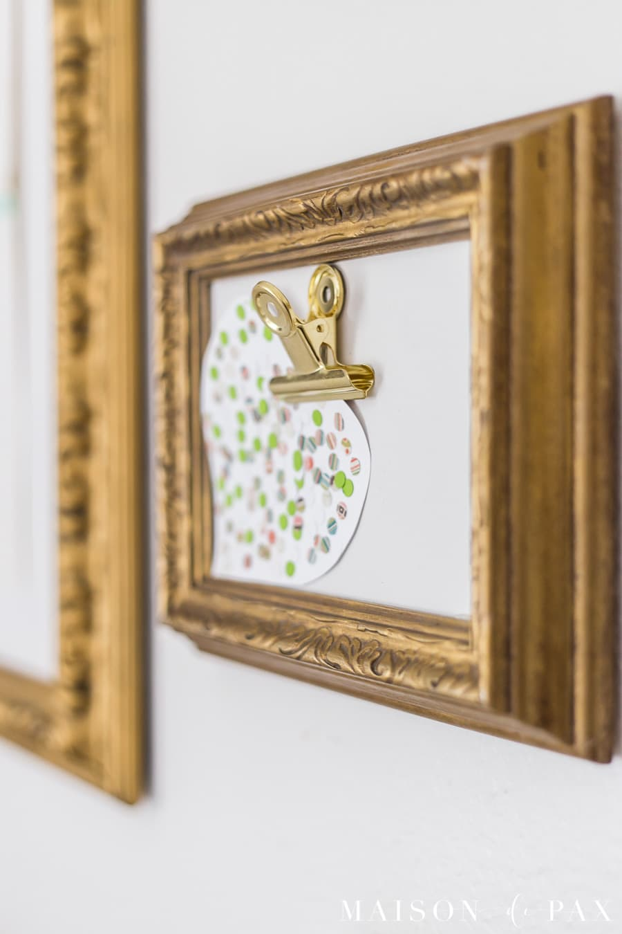gold frame with clip for displaying artwork | Maison de Pax