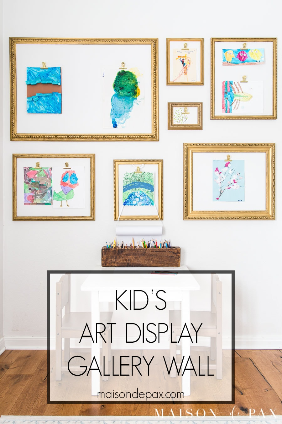 kid's art display gallery wall with clips | Maison de Pax