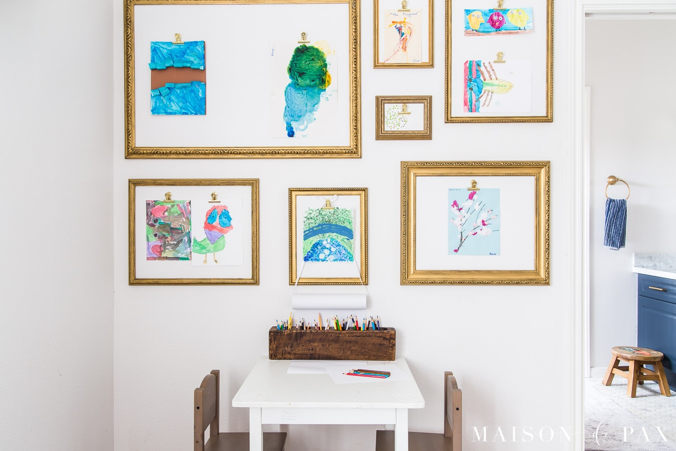 gold frames with clips to display kids' artwork | Maison de Pax