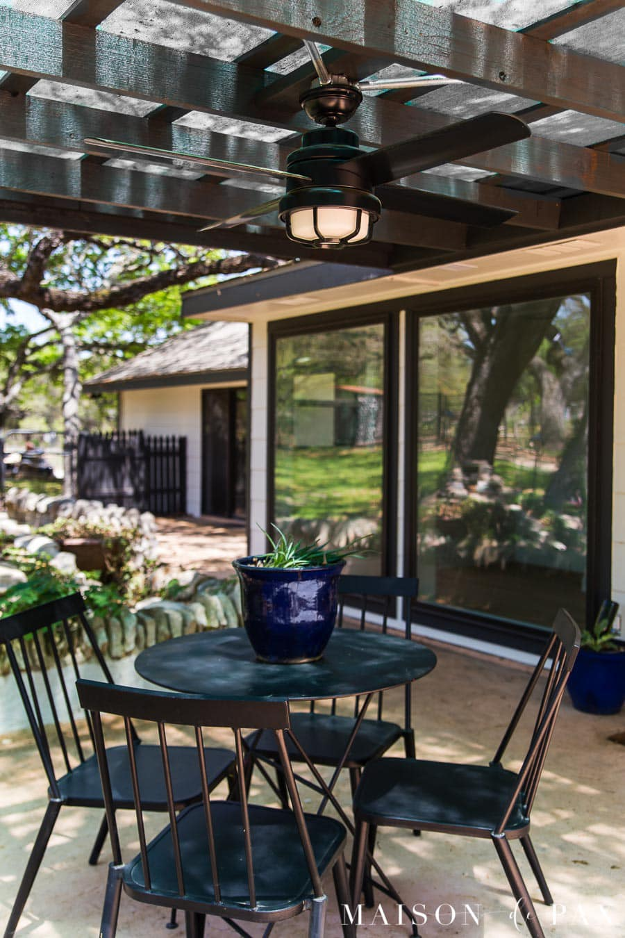 pergola with outdoor ceiling fan with led light