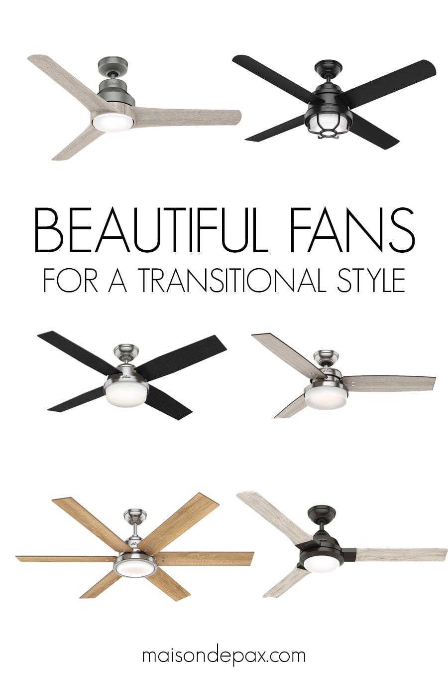 Beautiful ceiling fans for transitional style