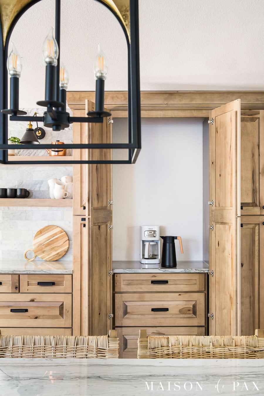 hidden appliance cabinet in floor to ceiling pantry cabinets