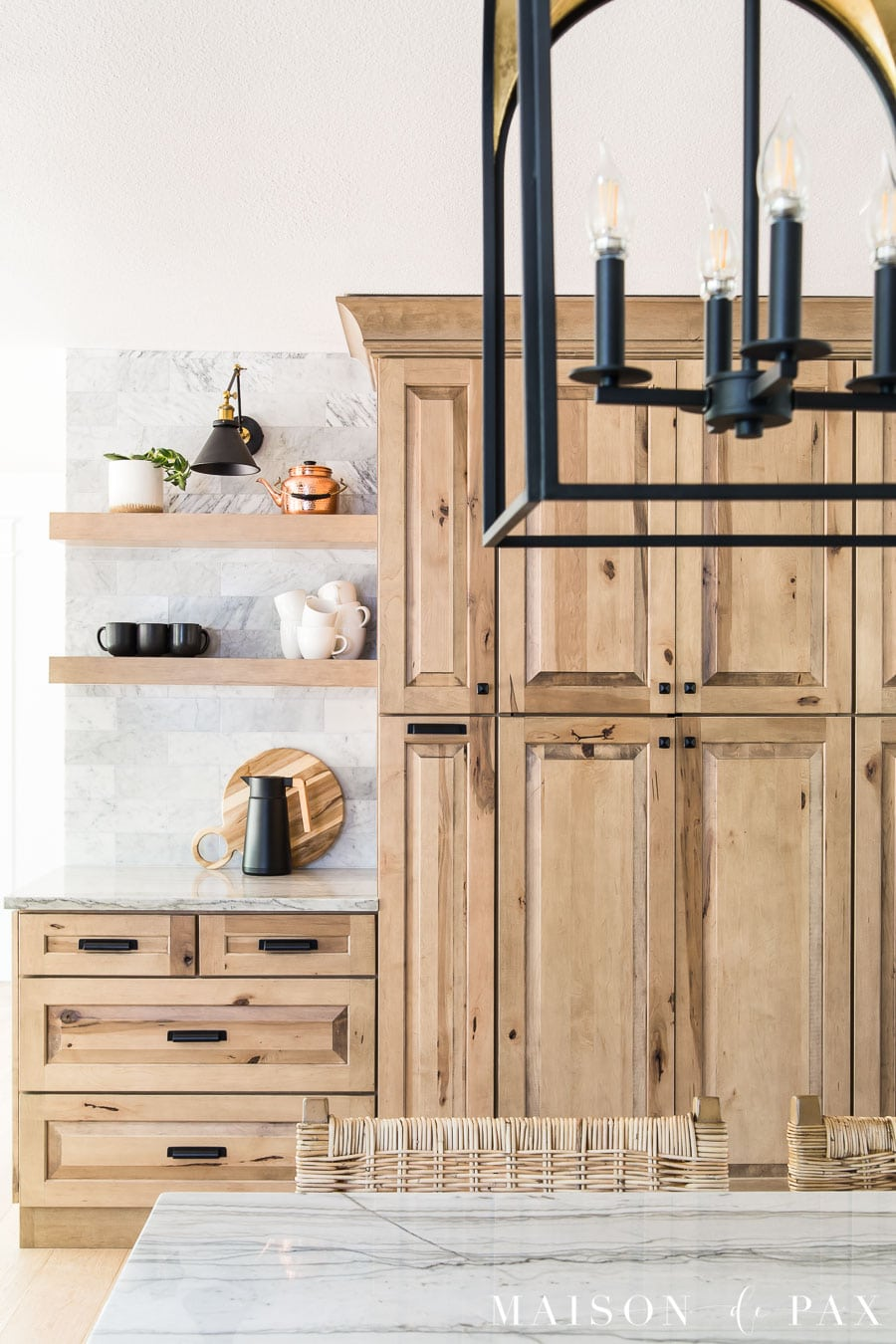 natural wood kitchen cabinets with open shelves coffee bar
