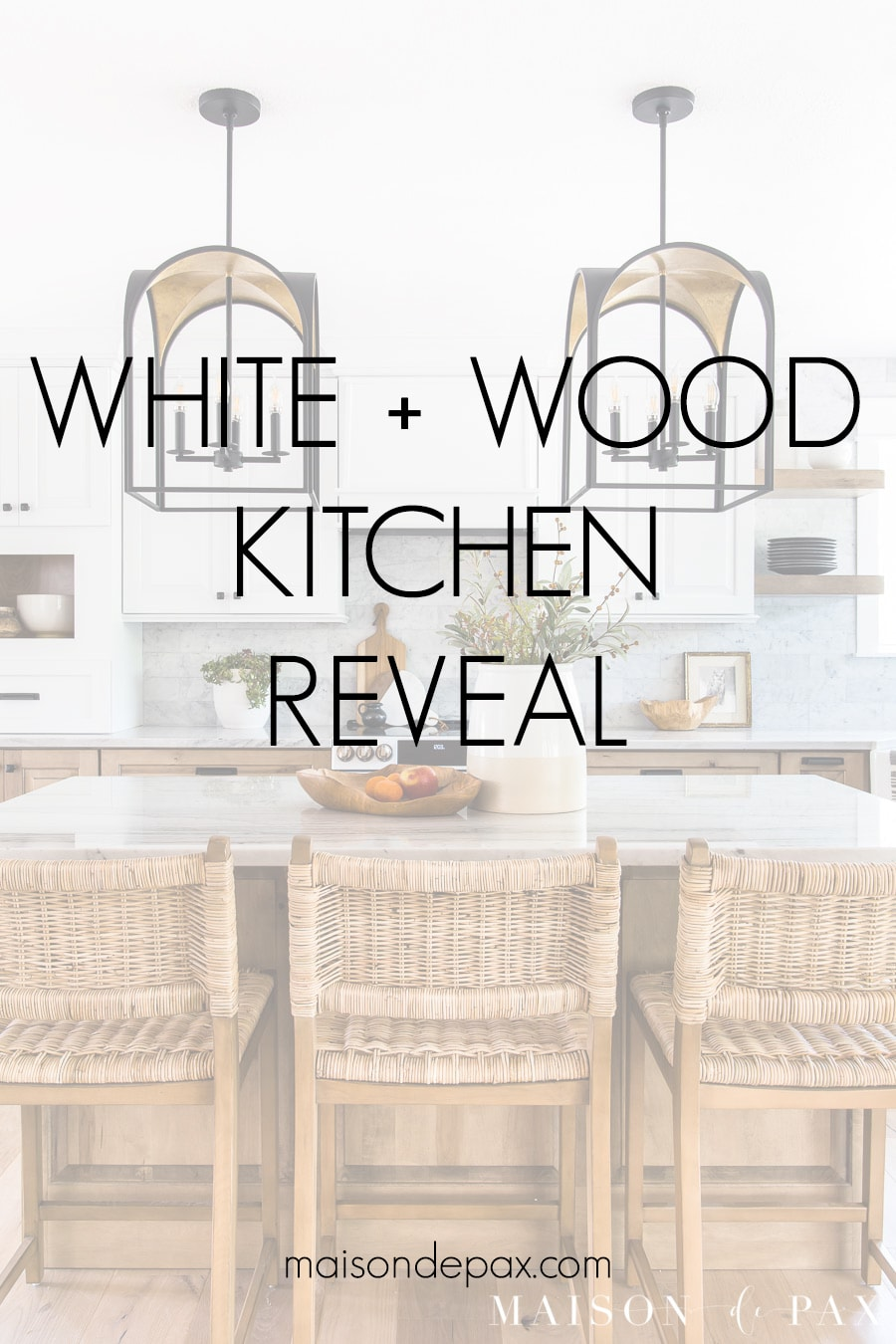 white and wood kitchen reveal