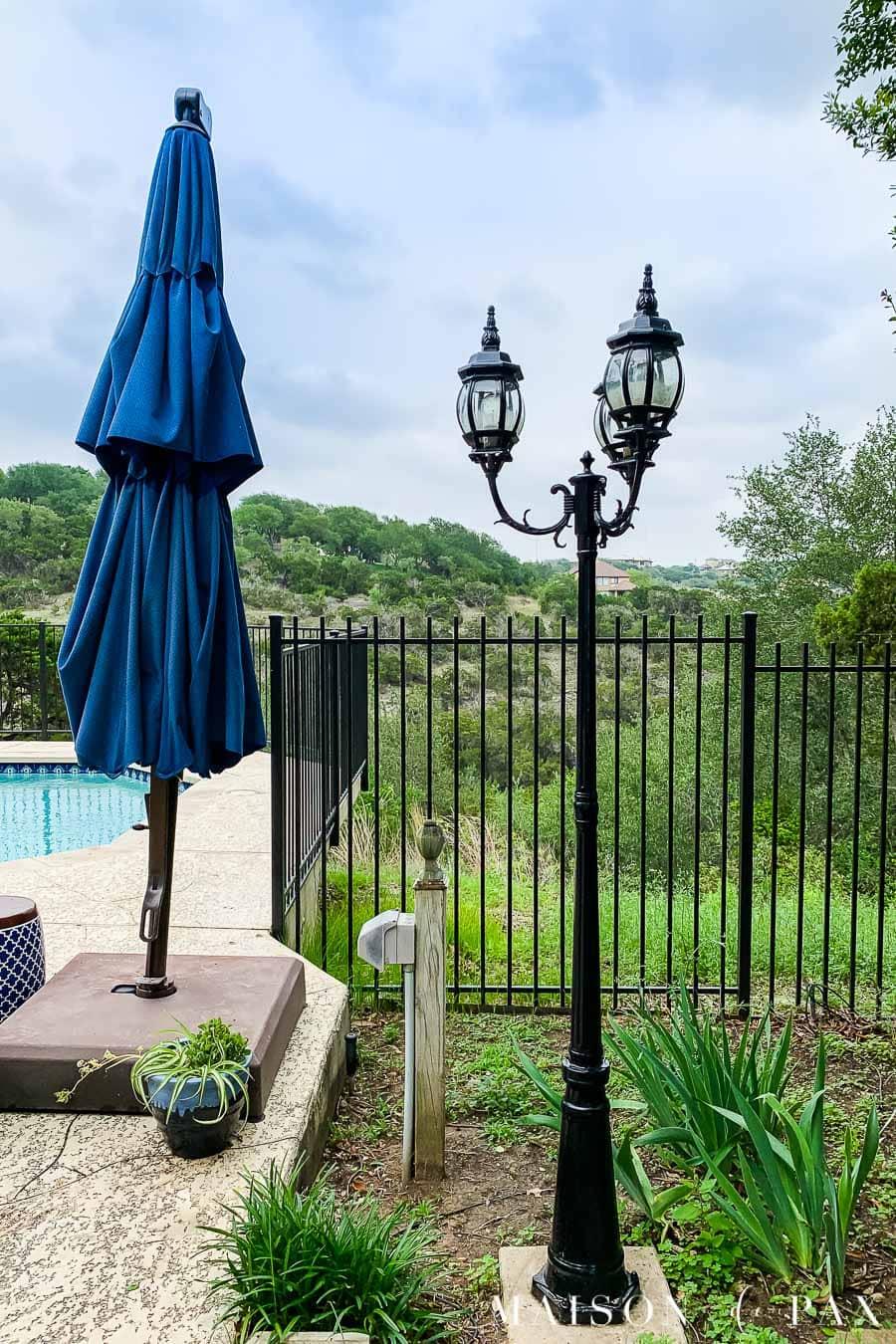black lampstand outdoor yard furniture
