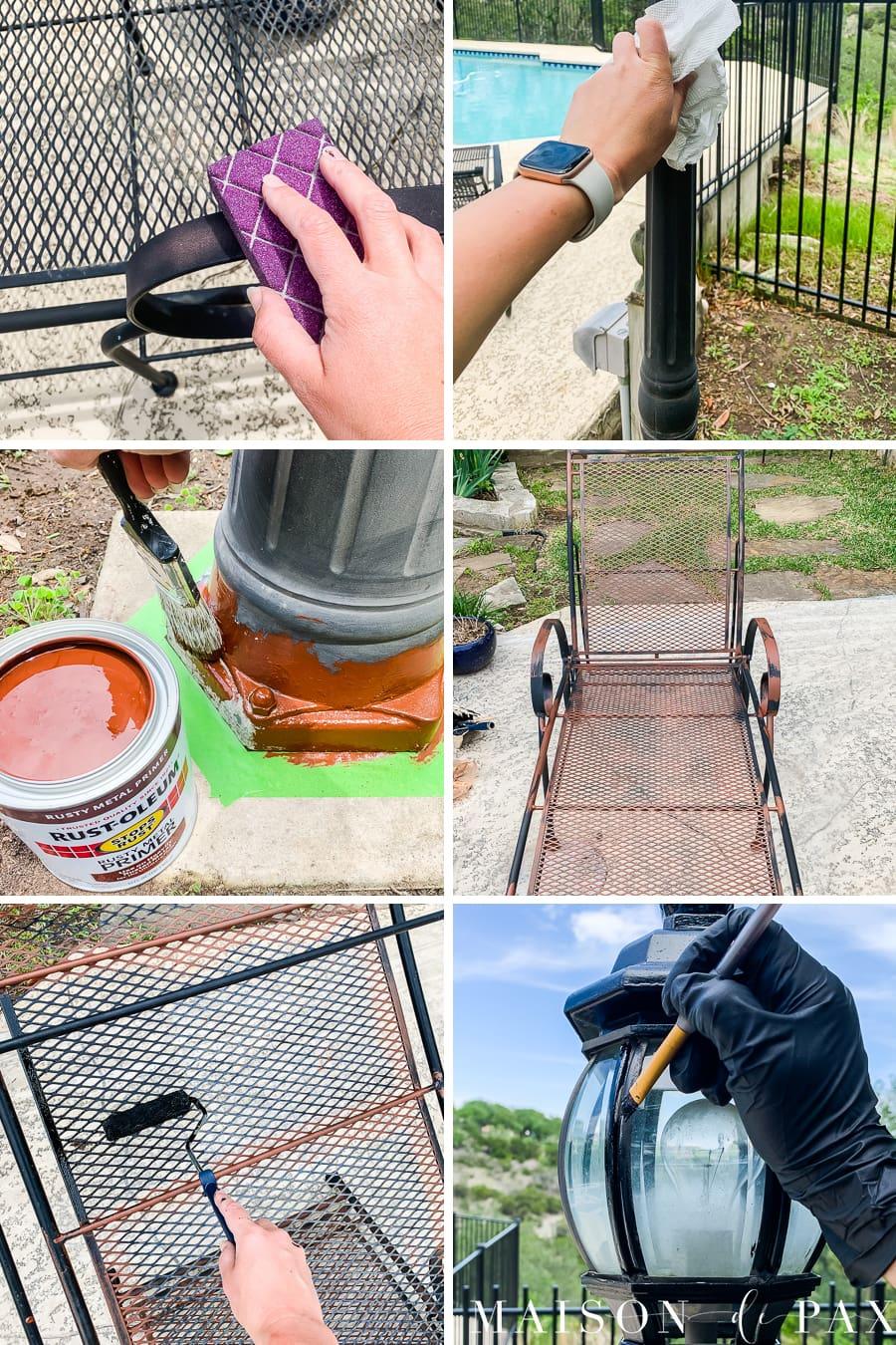 diy tutorial-how to paint outdoor metal furniture