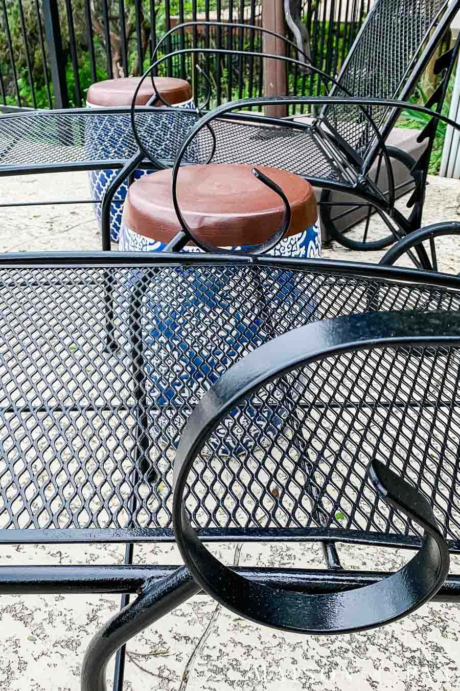 old metal furniture with fresh paint looks new