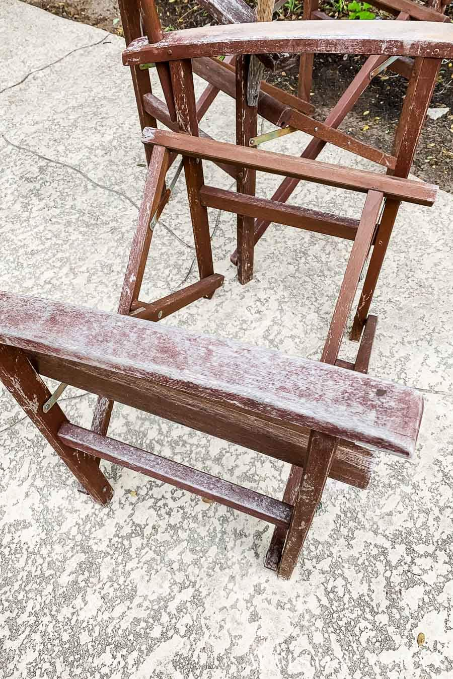old wooden outdoor director's chairs