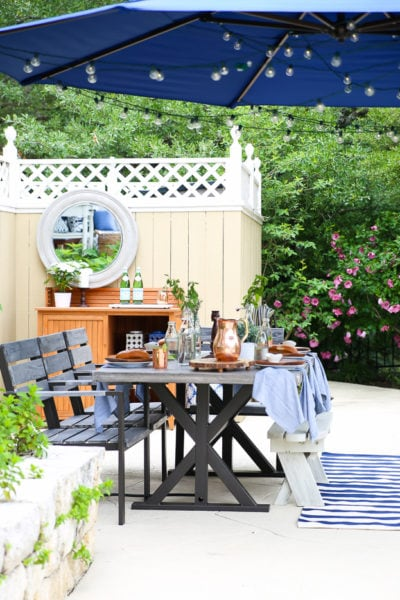 outdoor dining with cantilever umbrella for shade