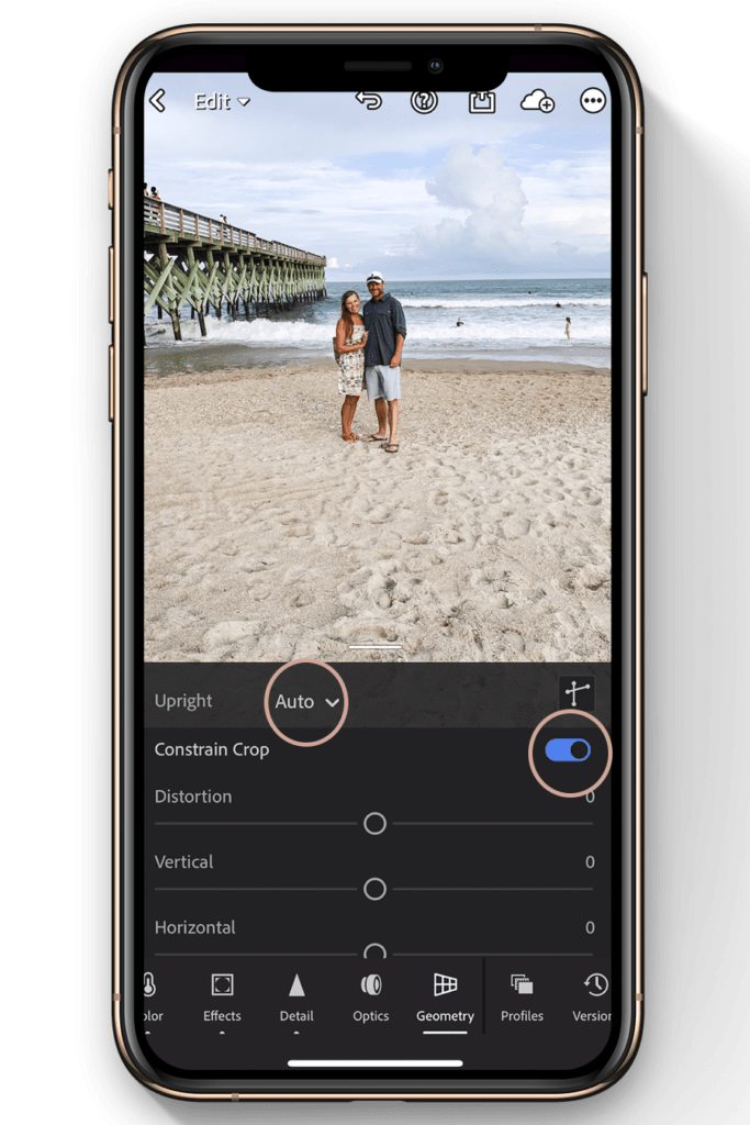 lightroom mobile editing tutorial-how to straighten image