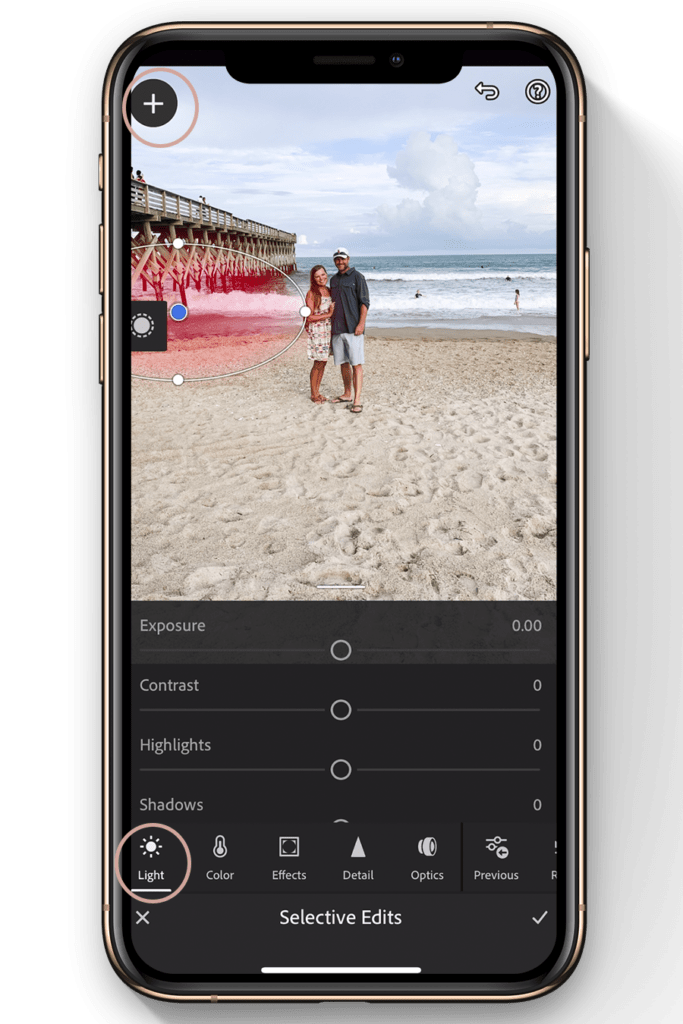 lightroom mobile editing tutorial-how to lighten a portion of image