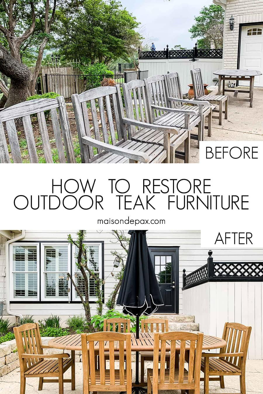 how to restore teak furniture before and after