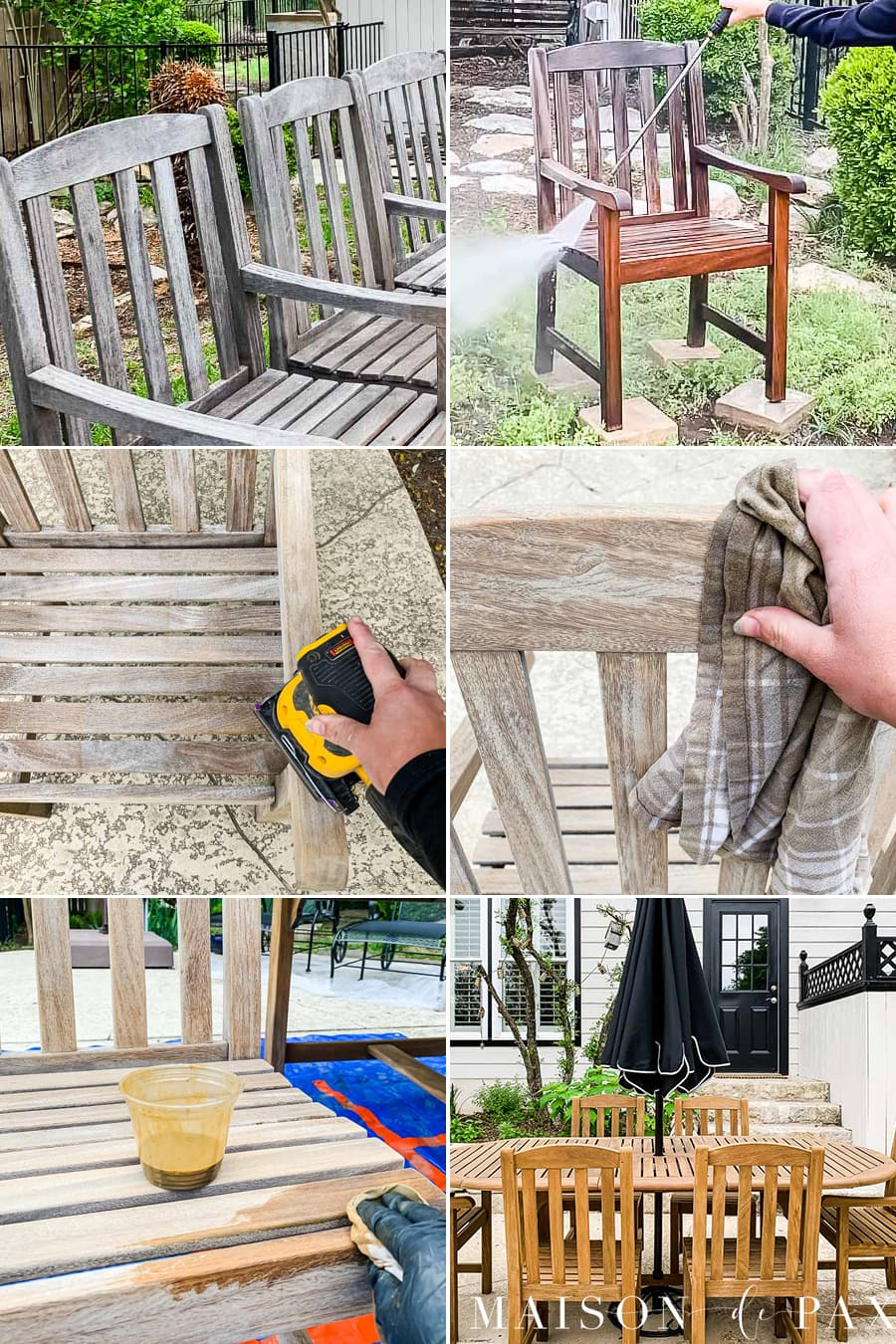 step by step tutorial for refinishing teak outdoor furniture