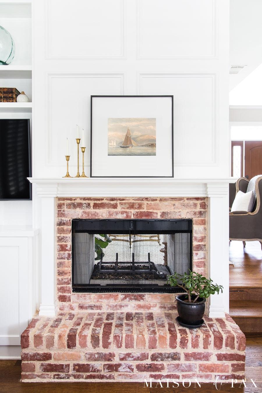 jade plant on fireplace hearth | Maison de Pax