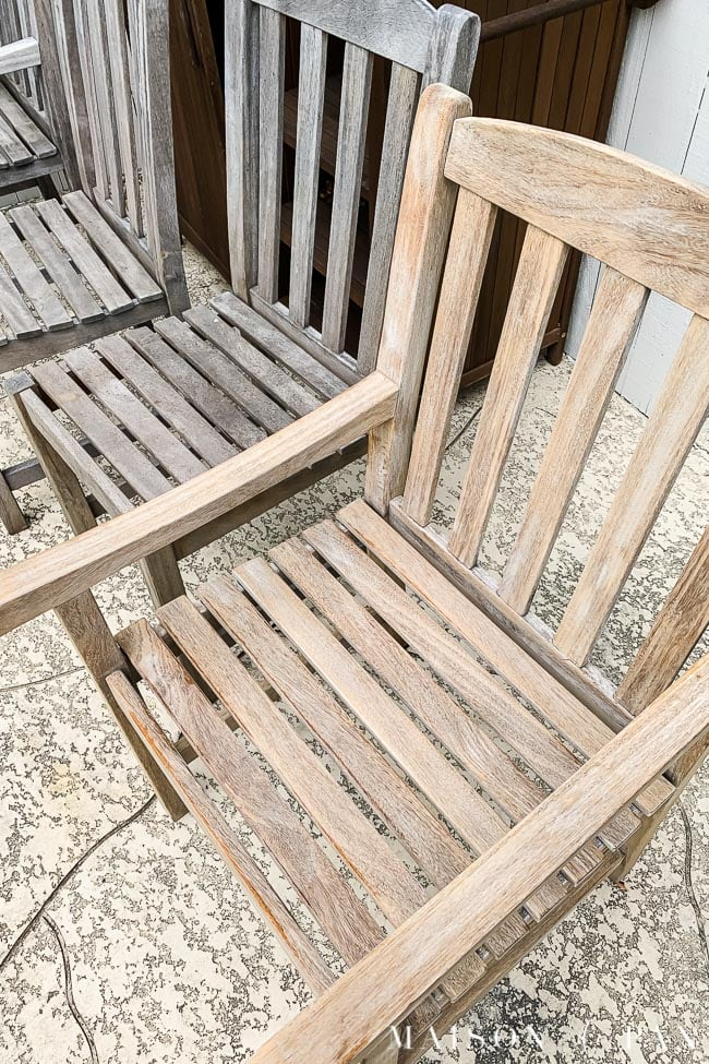 aged teak that has been cleaned and pressure washed