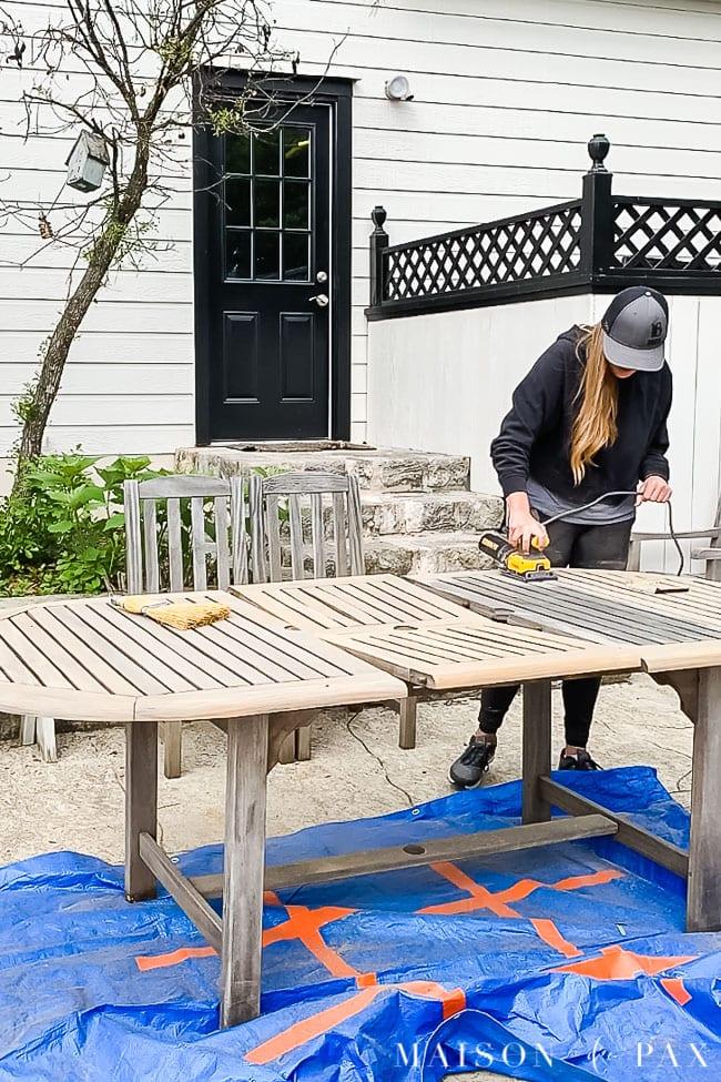 sanding grayed teak outdoor furniture