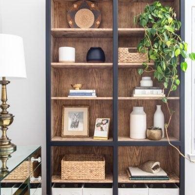 black and light wood bookcase styling | Maison de Pax