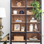 black and wood bookcase makeover