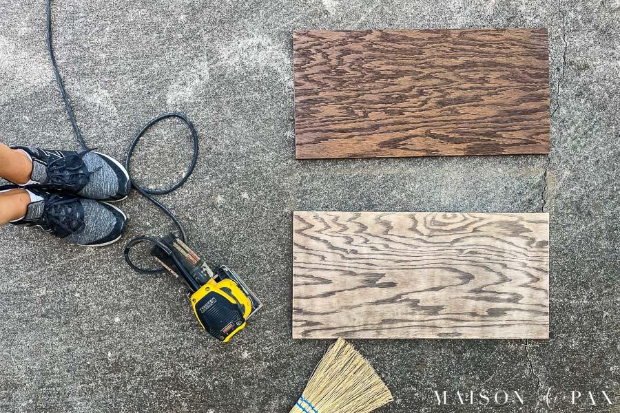 sanding dark finish from oak plywood shelves