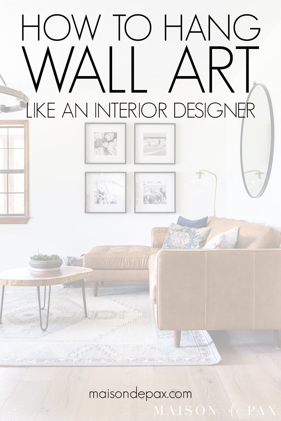 living room with gallery wall - how to hang wall art like an interior designer