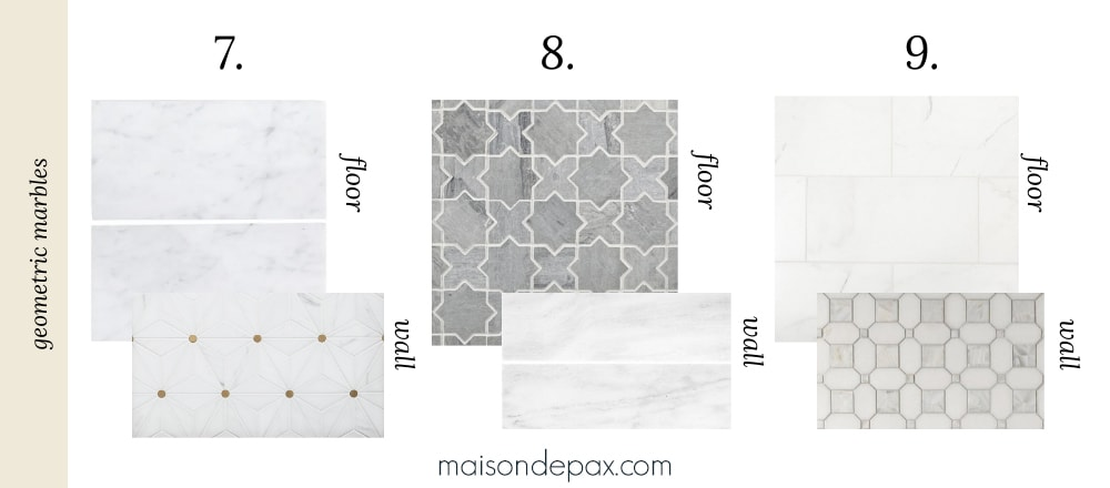 geometric marble tile combinations for bathrooms