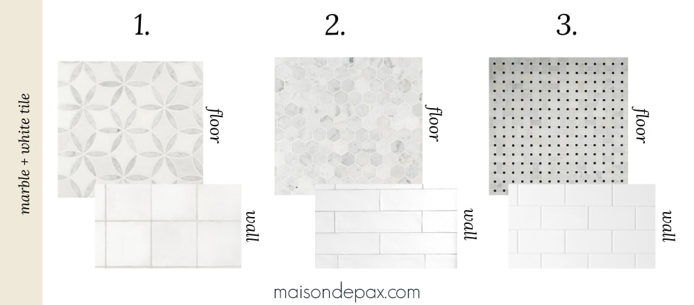 white tile + marble tile bathroom wall and floor combos