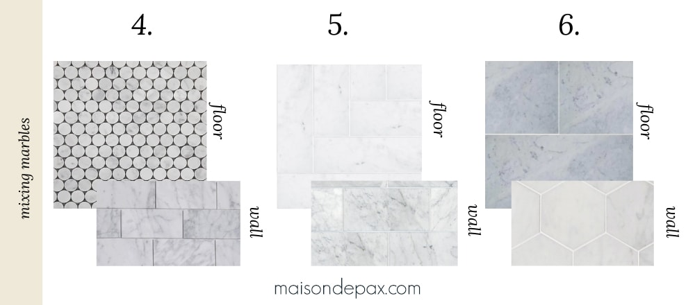 mixed marble tile combinations for bathroom design
